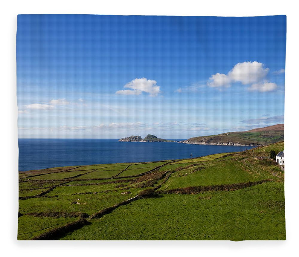 Photography Fleece Blanket featuring the photograph Puffin Island From The Skelligs Ring by Panoramic Images