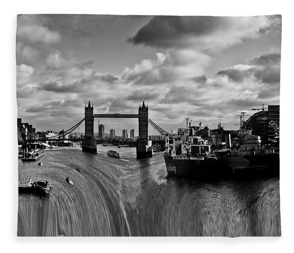 Waterfall Fleece Blanket featuring the photograph River Thames Waterfall by David Pyatt