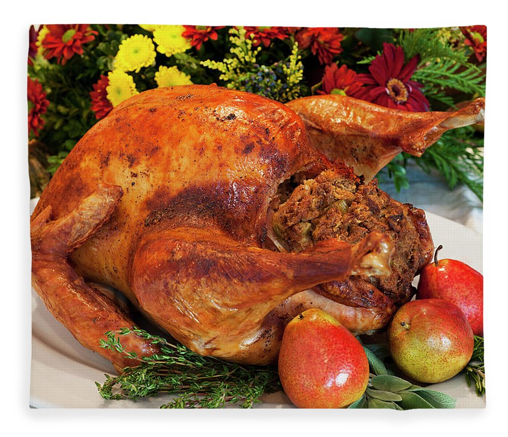 Stuffed Fleece Blanket featuring the photograph Roast Turkey by Tetra Images