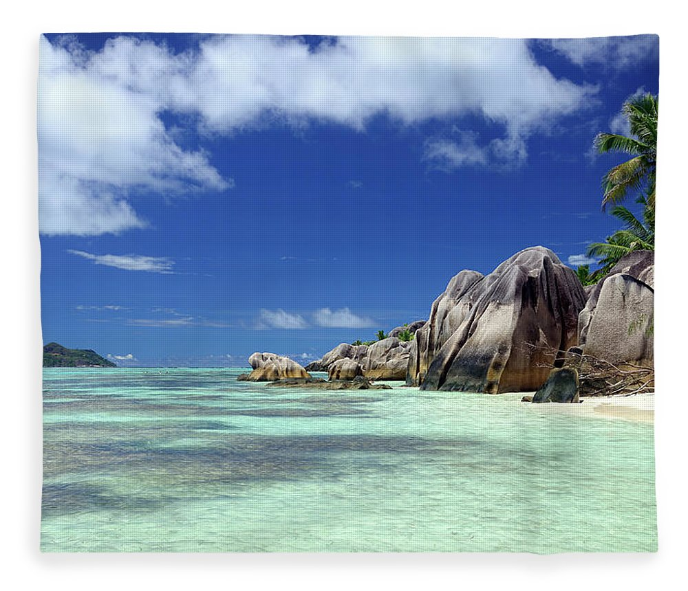 Tropical Tree Fleece Blanket featuring the photograph Seychelles Seascape by Alxpin