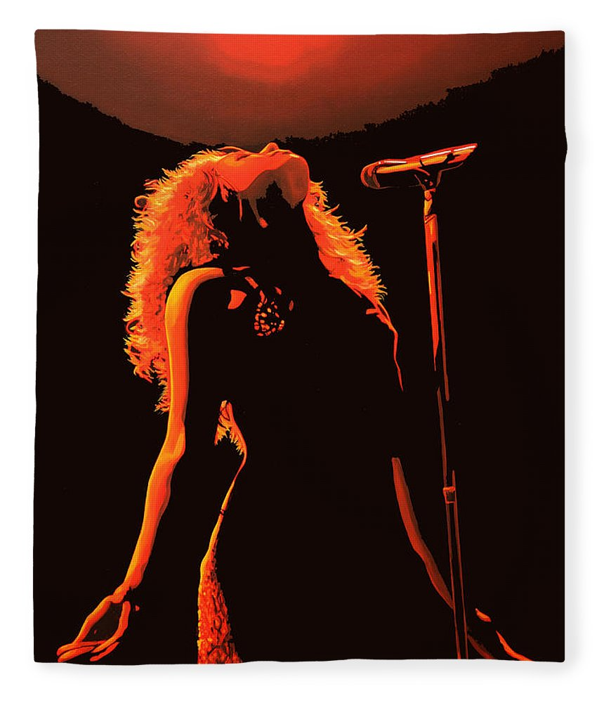 Shakira Fleece Blanket featuring the painting Shakira by Paul Meijering