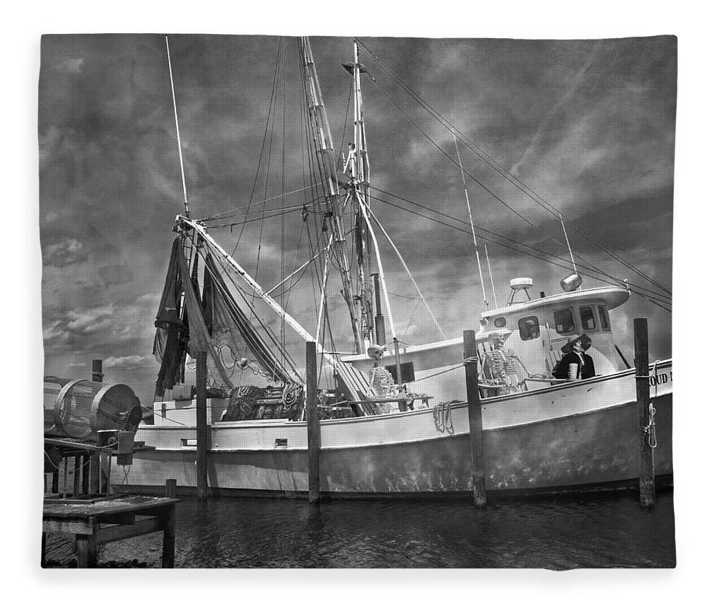 Shrimp Fleece Blanket featuring the photograph Shrimpin' Boat Captain And Mates by Betsy Knapp