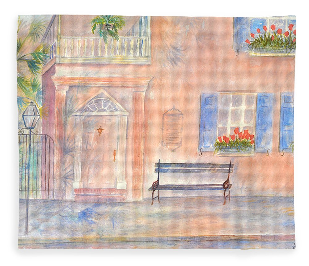 Charleston Fleece Blanket featuring the painting Sunday Morning in Charleston by Ben Kiger