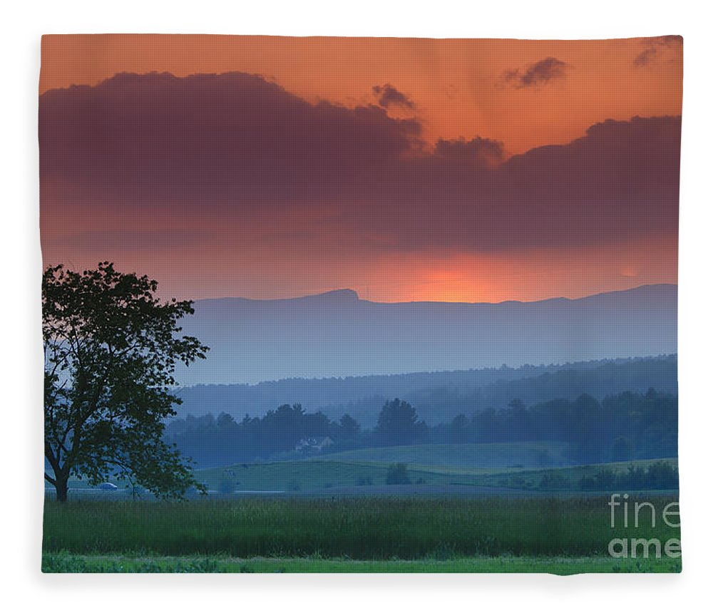 Mt. Mansfield Fleece Blanket featuring the photograph Sunset Over Mt. Mansfield In Stowe Vermont by Don Landwehrle