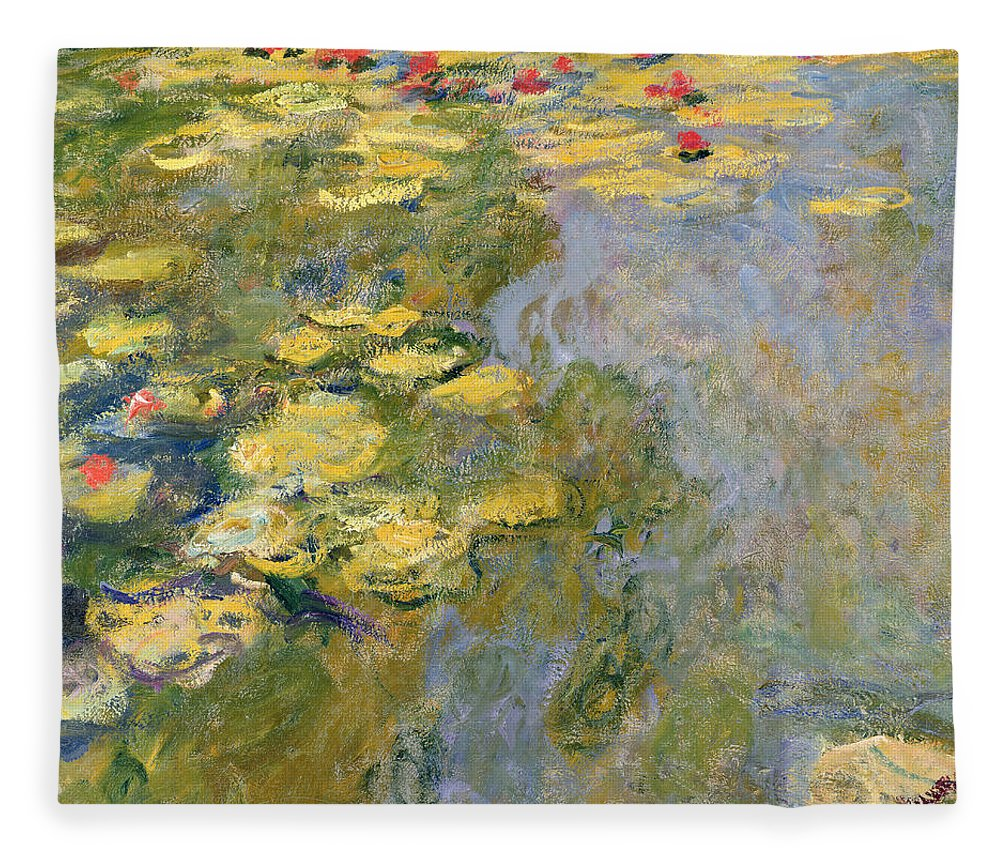 Impressionist Fleece Blanket featuring the painting The Waterlily Pond by Claude Monet