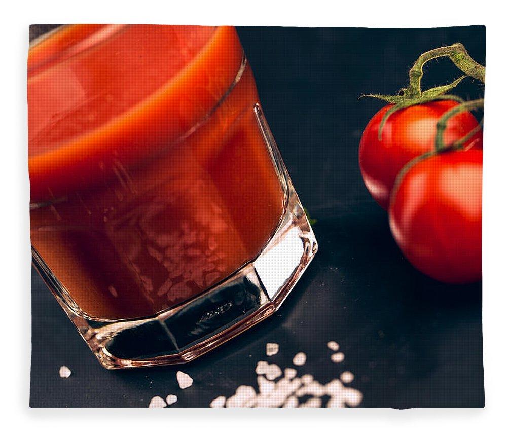 Tomato Fleece Blanket featuring the photograph Tomato Juice by Nailia Schwarz