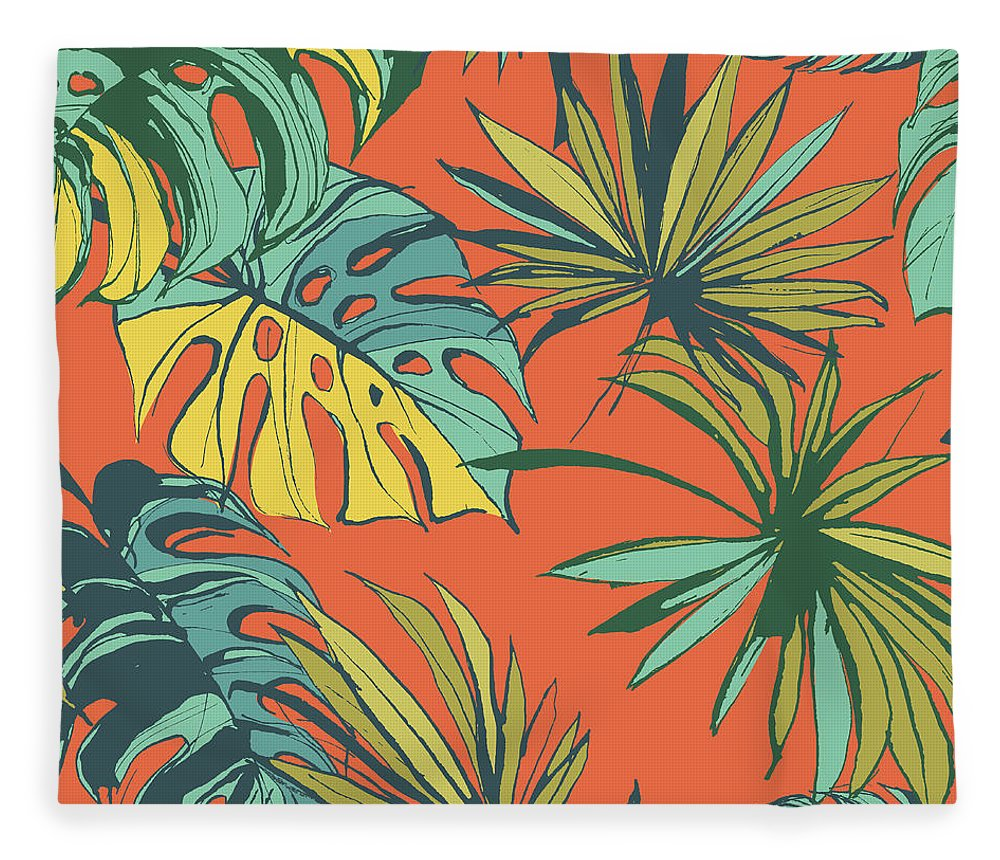 Tropical Rainforest Fleece Blanket featuring the digital art Tropical Jungle Floral Seamless Pattern by Sv sunny