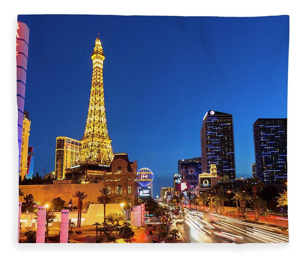 Las Vegas Replica Eiffel Tower Fleece Blanket featuring the photograph Usa, Nevada, Las Vegas, Paris Las Vegas by Sylvain Sonnet