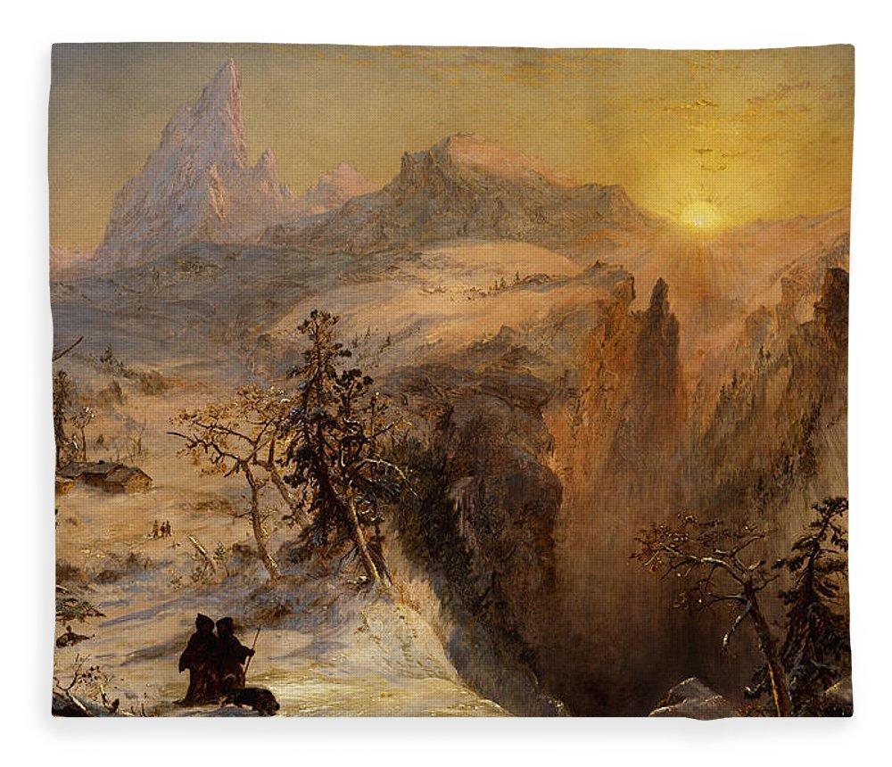 Winter In Switzerland Fleece Blanket featuring the painting Winter In Switzerland by Jasper Francis Cropsey