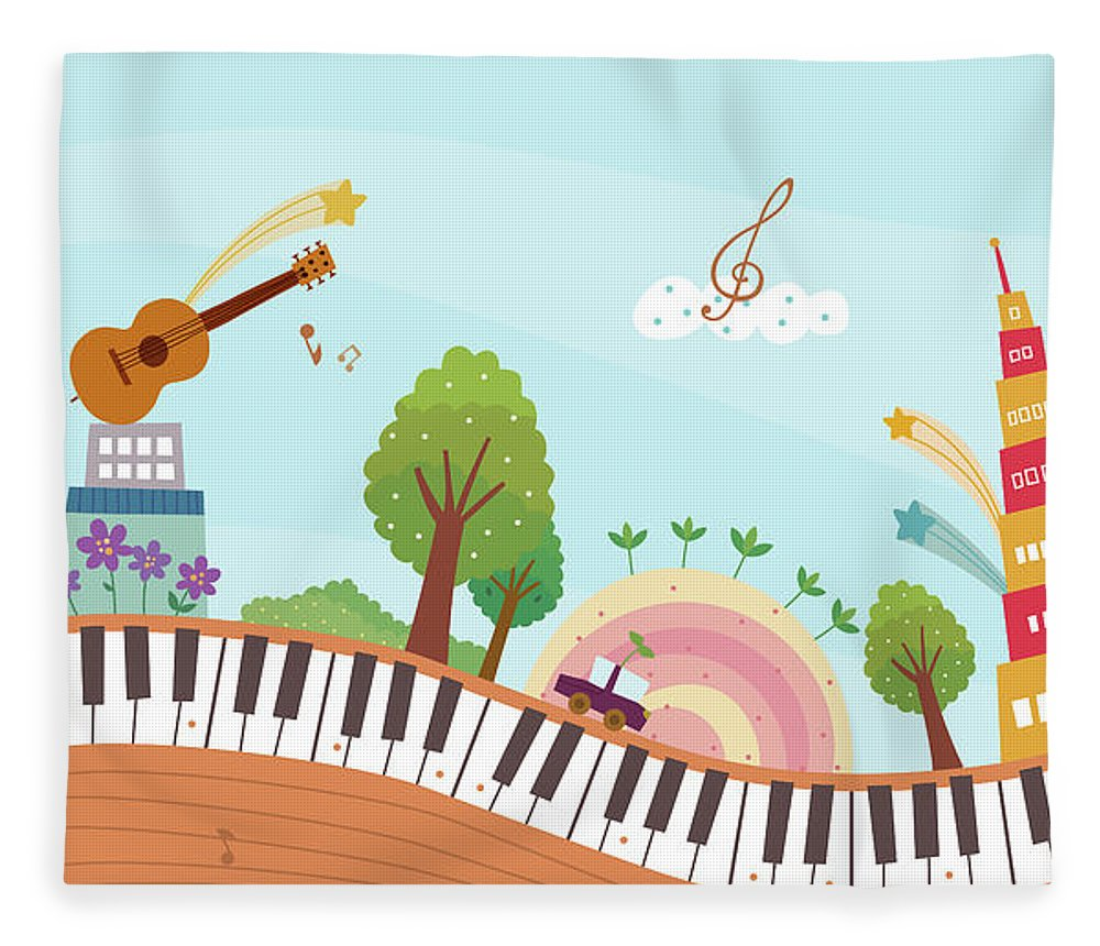 Event Fleece Blanket featuring the digital art View Of Town by Eastnine Inc.