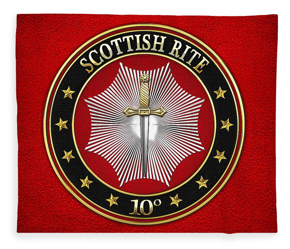 'scottish Rite' Collection By Serge Averbukh Fleece Blanket featuring the digital art 10th Degree - Elu Of The Fifteen Jewel On Red Leather by Serge Averbukh