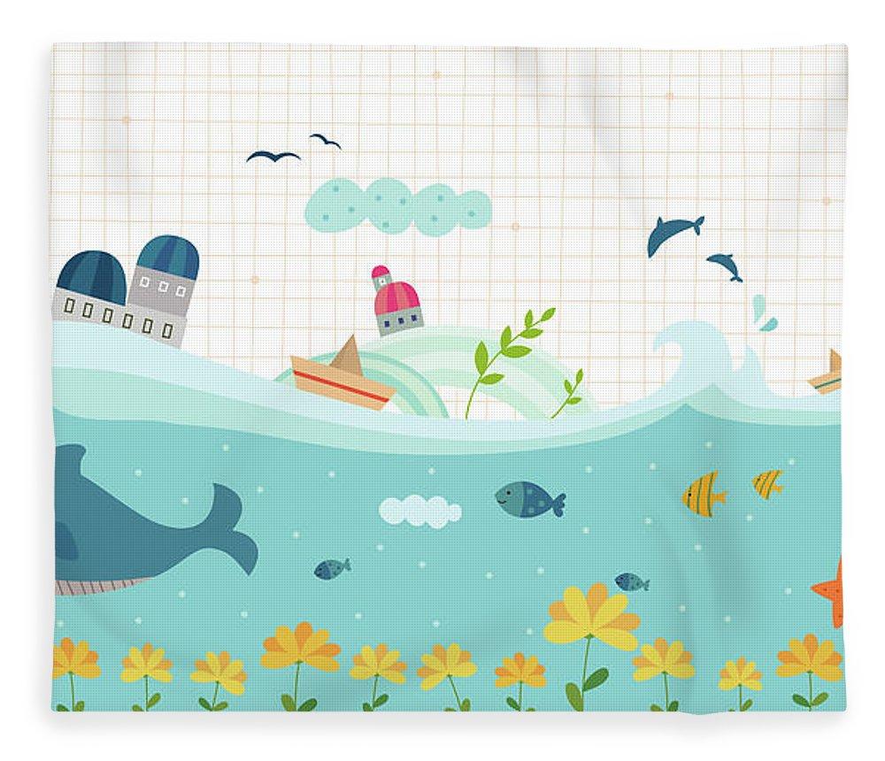 Seaweed Fleece Blanket featuring the digital art View Of Town by Eastnine Inc.