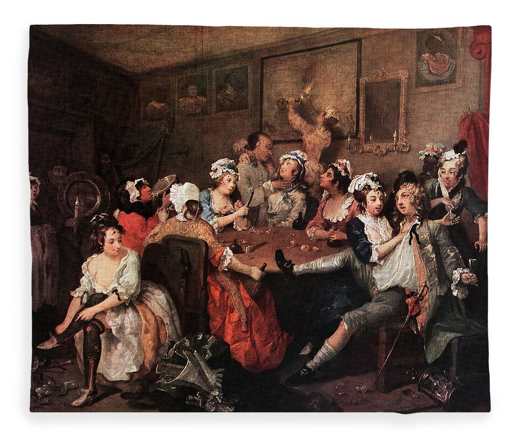 Horizontal Fleece Blanket featuring the painting 1700s The Orgy From Rakes Progress by Vintage Images
