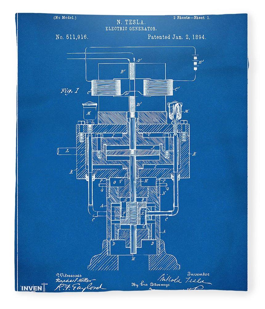 1894 tesla electric generator patent blueprint fleece blanket for tesla fleece blanket featuring the digital art 1894 tesla electric generator patent blueprint by nikki marie malvernweather Image collections