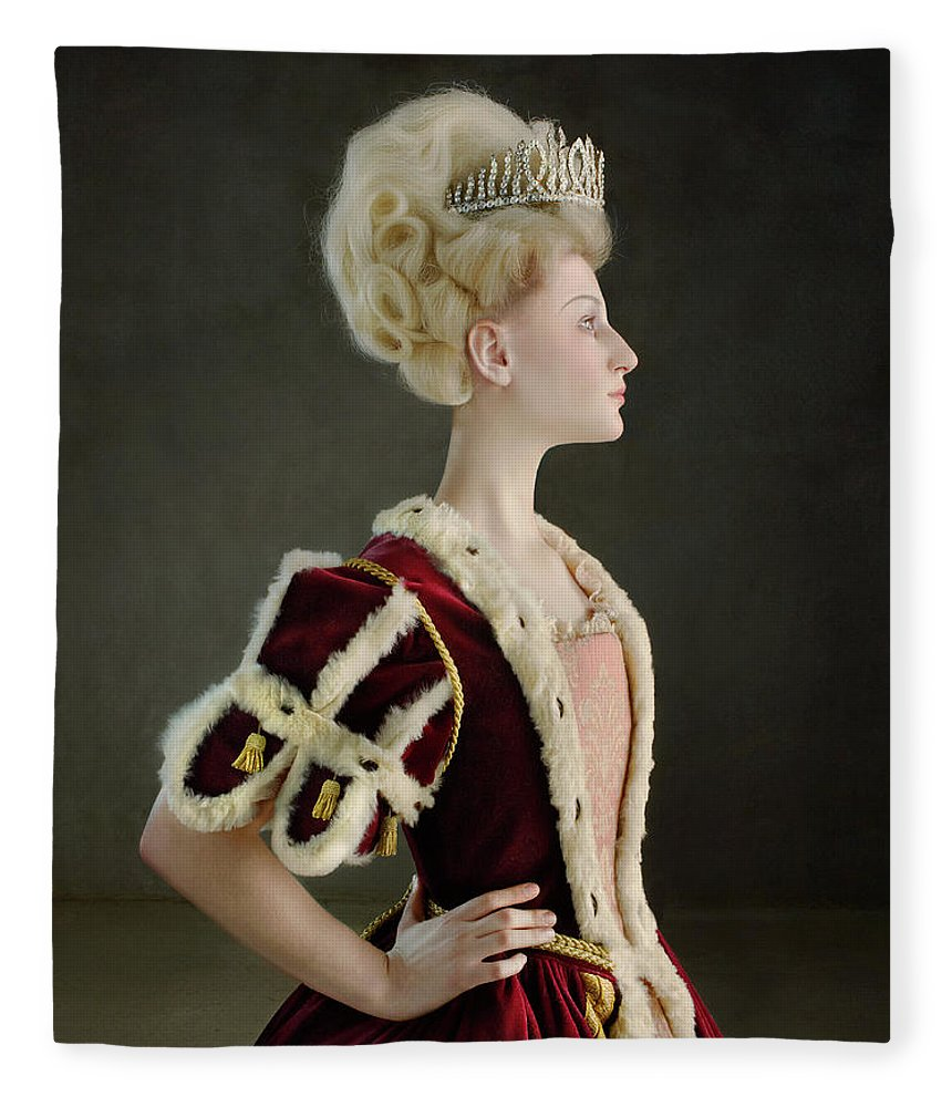 People Fleece Blanket featuring the photograph 18th Century Queen Wearing Red Robe by Zena Holloway