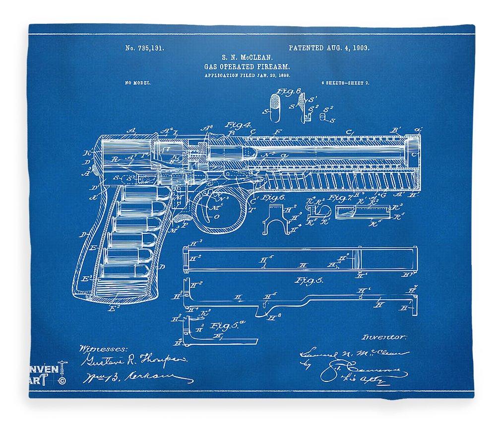 1903 mcclean pistol patent artwork blueprint fleece blanket for gun fleece blanket featuring the digital art 1903 mcclean pistol patent artwork blueprint by nikki malvernweather Gallery
