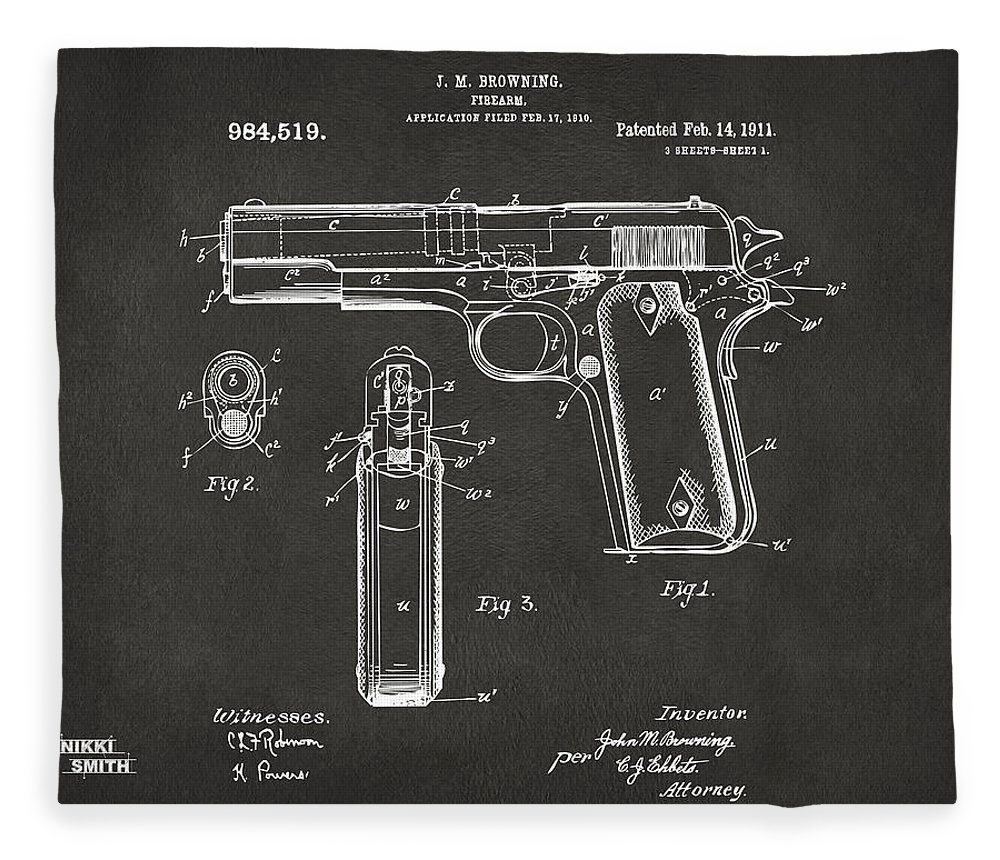 Colt 45 Fleece Blanket featuring the digital art 1911 Browning Firearm Patent Artwork - Gray by Nikki Marie Smith