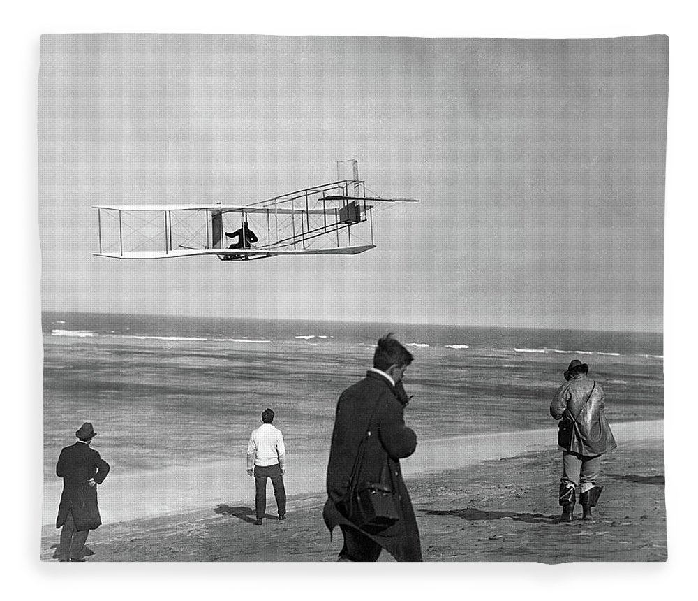 Photography Fleece Blanket featuring the photograph 1911 One Of The Wright Brothers Flying by Vintage Images