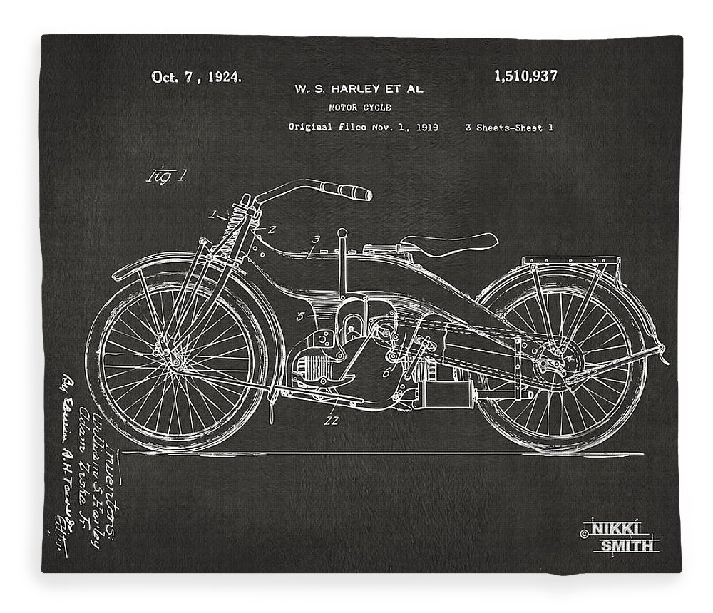 Harley Fleece Blanket featuring the digital art 1924 Harley Motorcycle Patent Artwork - Gray by Nikki Marie Smith