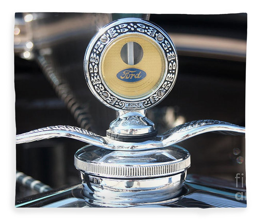 1930 Ford Model A Fleece Blanket featuring the photograph 1930 Ford Model A - Hood Ornament - 7488 by Gary Gingrich Galleries