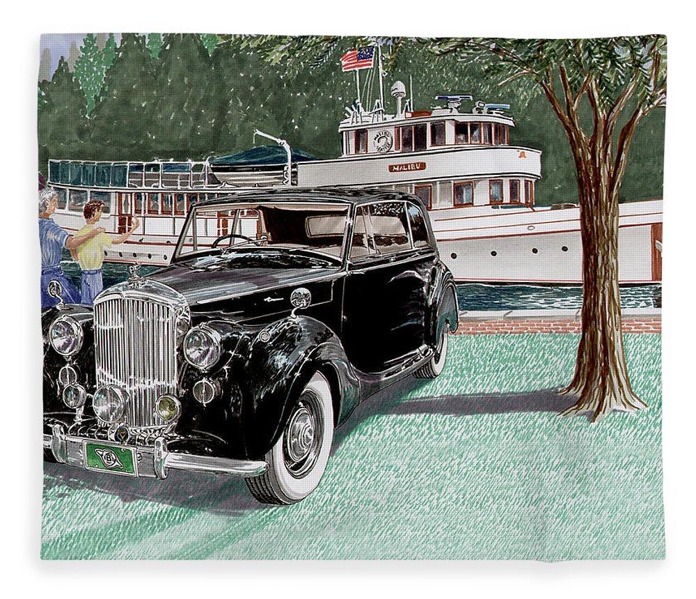 Classic 1936 Bentley British Car Art Fleece Blanket featuring the painting Bentley Waving To Malibu by Jack Pumphrey