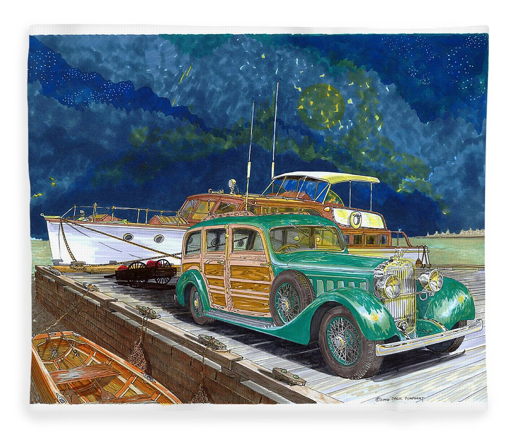 Classic Car Art Fleece Blanket featuring the painting 1936 Hispano Suiza Shooting Brake by Jack Pumphrey