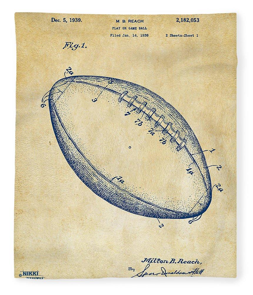 Fotball Fleece Blanket featuring the digital art 1939 Football Patent Artwork - Vintage by Nikki Marie Smith