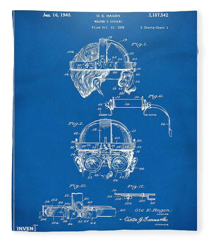 1940 welders goggles patent artwork blueprint fleece blanket for steampunk fleece blanket featuring the digital art 1940 welders goggles patent artwork blueprint by nikki marie malvernweather Image collections