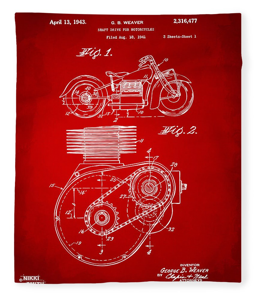 Indian Motorcycle Fleece Blanket featuring the digital art 1941 Indian Motorcycle Patent Artwork - Red by Nikki Marie Smith
