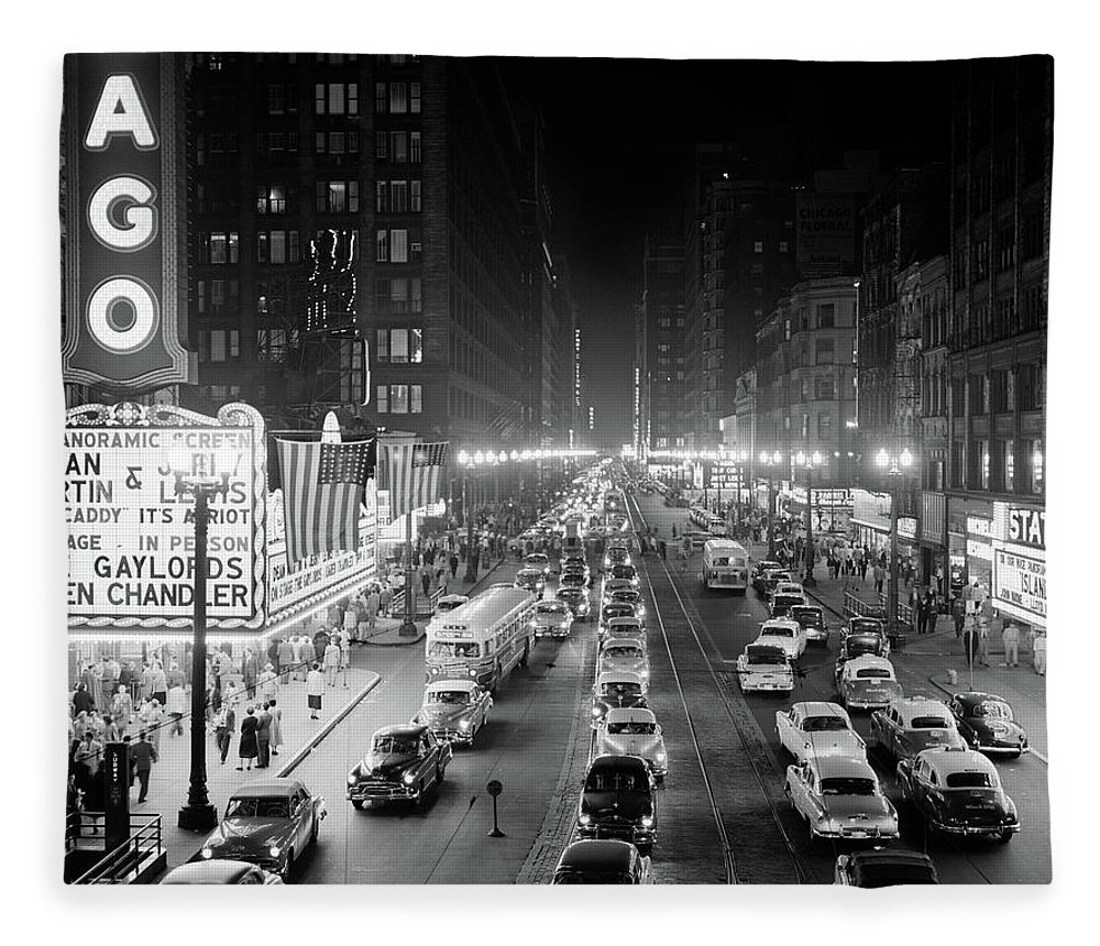 Photography Fleece Blanket featuring the photograph 1950s 1953 Night Scene Of Chicago State by Vintage Images