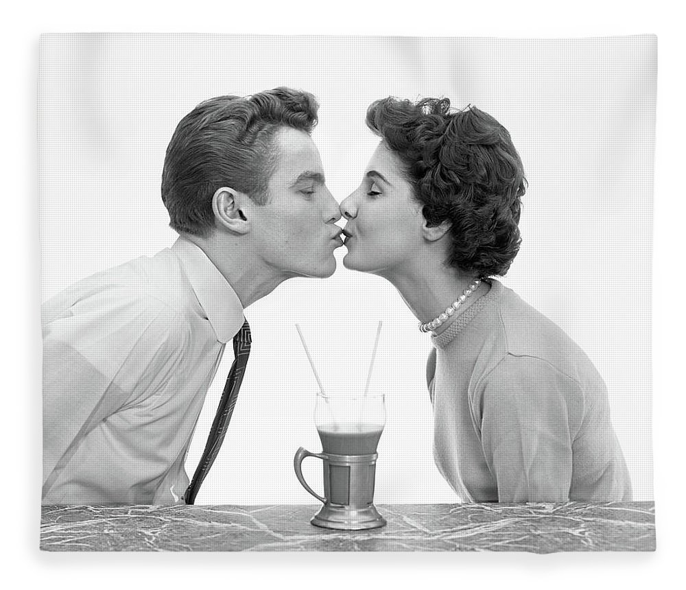 Photography Fleece Blanket featuring the photograph 1950s Couple Man Woman Kissing Profile by Vintage Images