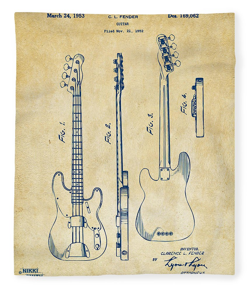 1953 Fender Bass Guitar Patent Artwork - Vintage Fleece Blanket for ...