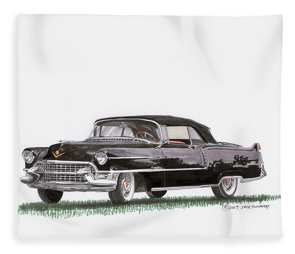 Classic Car Paintings Fleece Blanket featuring the painting 1955 Cadillac Series 62 Convertible by Jack Pumphrey