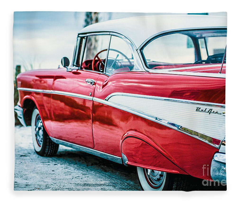 1957 Fleece Blanket featuring the photograph 1957 Chevy Bel Air by Edward Fielding