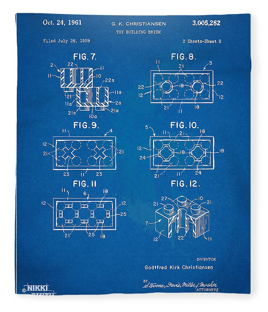 1961 lego brick patent artwork blueprint fleece blanket for sale toy fleece blanket featuring the digital art 1961 lego brick patent artwork blueprint by nikki malvernweather Images