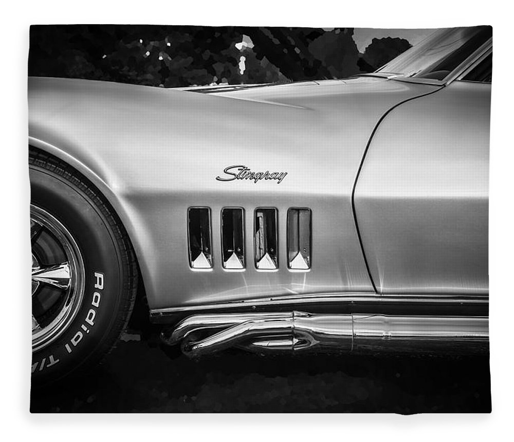 1969 Corvette Fleece Blanket featuring the photograph 1969 Chevrolet Corvette 427 Bw by Rich Franco
