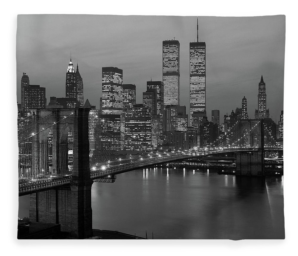Photography Fleece Blanket featuring the photograph 1980s New York City Lower Manhattan by Vintage Images