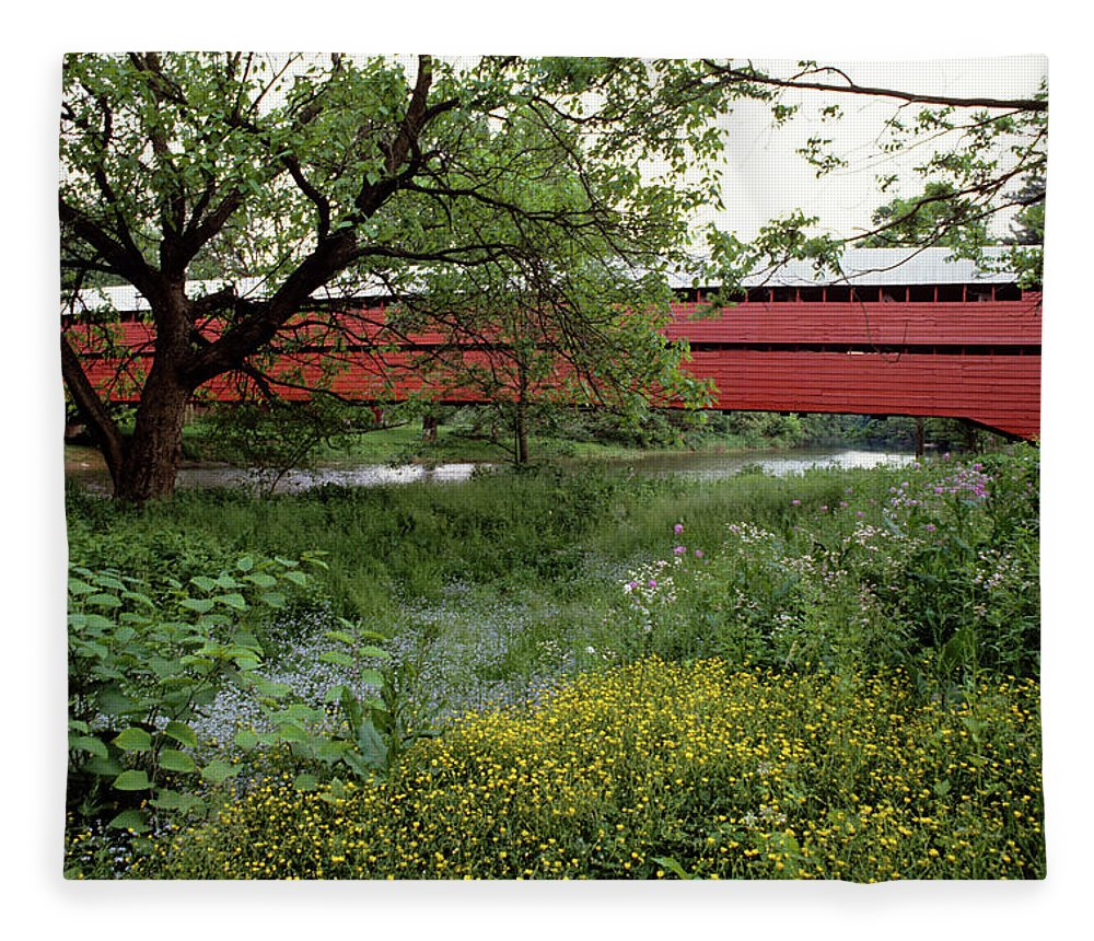 Photography Fleece Blanket featuring the photograph 1990s Dreibelbis Station Covered Bridge by Vintage Images