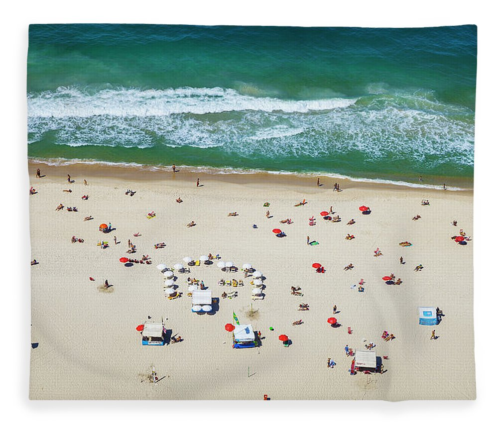 Water's Edge Fleece Blanket featuring the photograph Aereal View Of Copacabana Beach In Rio by Gonzalo Azumendi
