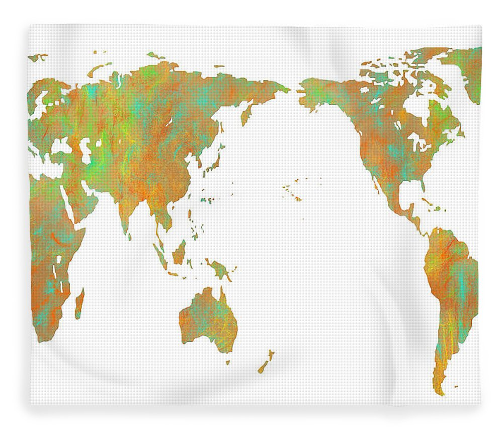 Asia centric world map fleece blanket for sale by marlene watson asia fleece blanket featuring the digital art asia centric world map by marlene watson gumiabroncs Images