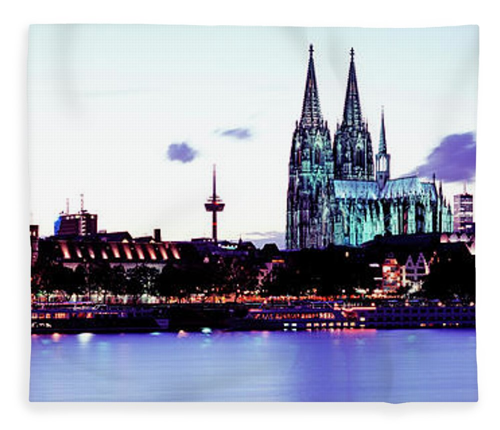 Panoramic Fleece Blanket featuring the photograph Cathedral And Rhine River by Murat Taner