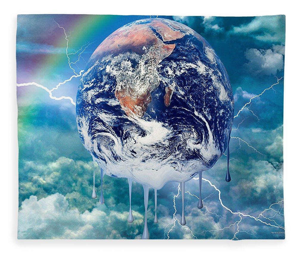 World Fleece Blanket featuring the digital art Climate Change- by Robert Orinski