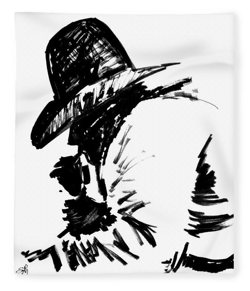 Exhausted Cowboy Fleece Blanket featuring the drawing Exhausted Cowboy by Seth Weaver