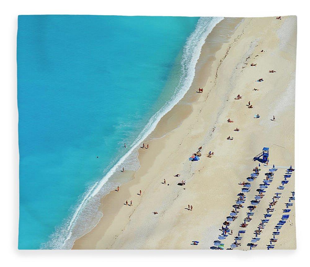 Water's Edge Fleece Blanket featuring the photograph Greece, Ionian Island, Cephalonia by Tuul & Bruno Morandi