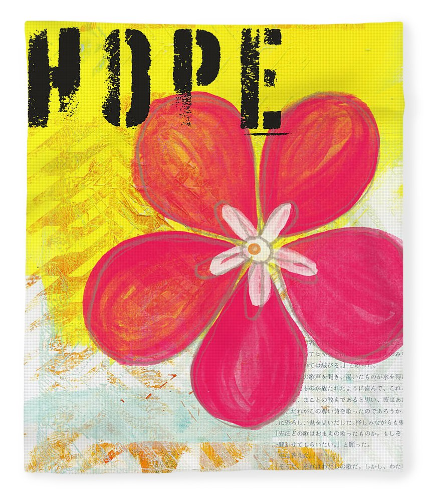 Flower Fleece Blanket featuring the painting Hope by Linda Woods