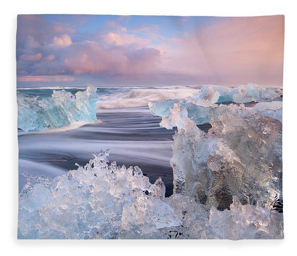 Scenics Fleece Blanket featuring the photograph Iceland, Skaftafell, Jokulsarlon by Travelpix Ltd