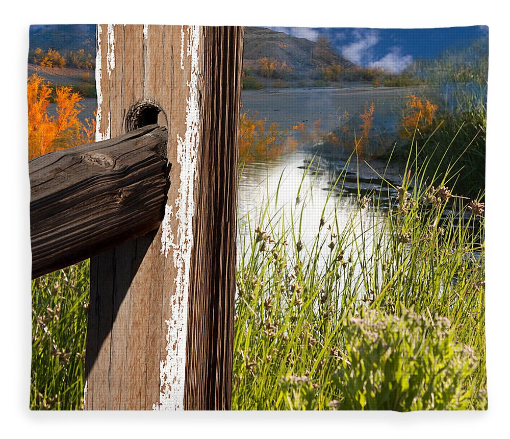 Agriculture Fleece Blanket featuring the photograph Landscape With Fence Pole 2 by Gunter Nezhoda