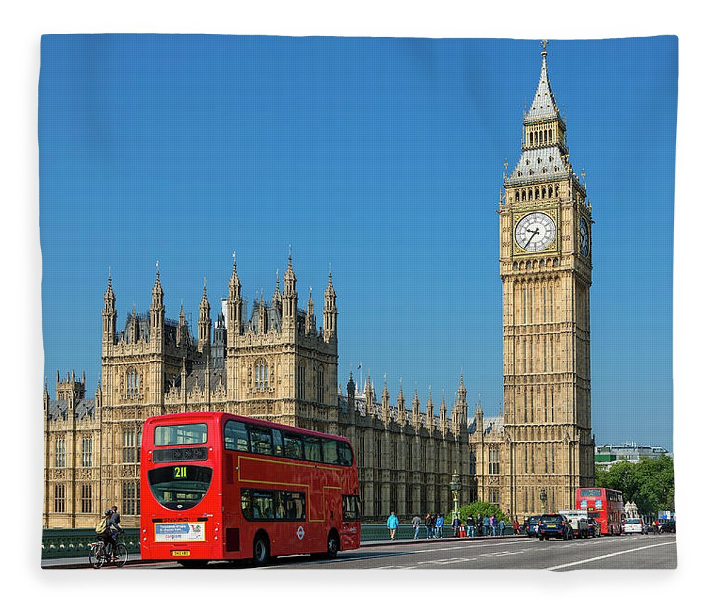 Clock Tower Fleece Blanket featuring the photograph London, Big Ben And Traffic On by Sylvain Sonnet