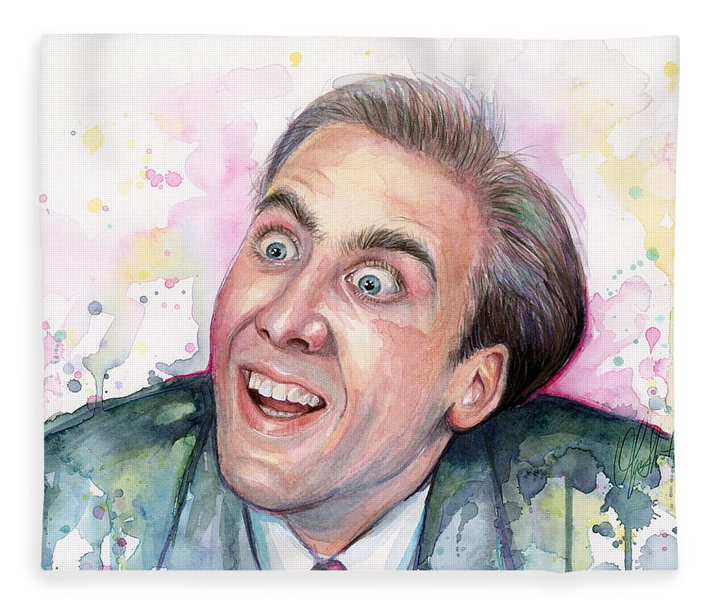 Nic Cage Fleece Blanket featuring the painting Nicolas Cage You Don't Say Watercolor Portrait by Olga Shvartsur