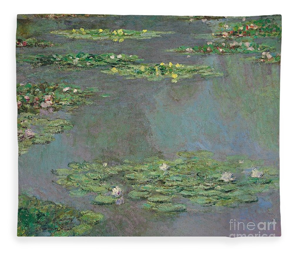 Lily Pond; Impressionist; Giverny; Blue; Flowers; Green; Lily Pad; Lily Pads; Pond; Pink; Water Lillies Fleece Blanket featuring the painting Nympheas by Claude Monet